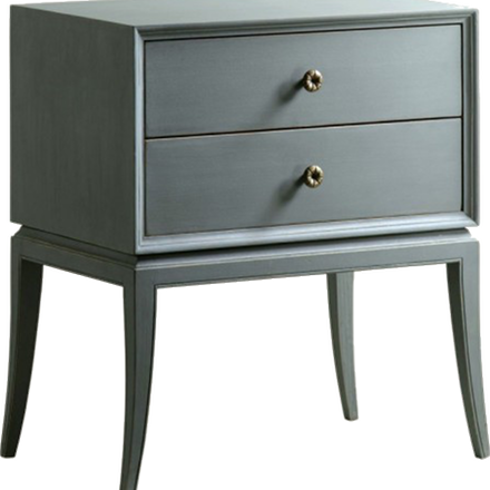 Two Drawer Bedside Table with Brass Pulls (other finishes available)