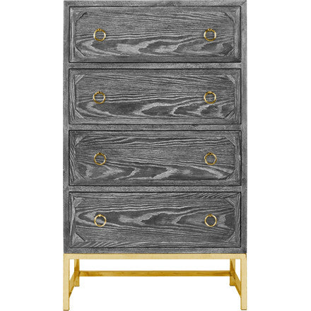 Worlds Away Bentley four drawer dresser in black cerused oak with brass drawer pulls and base.