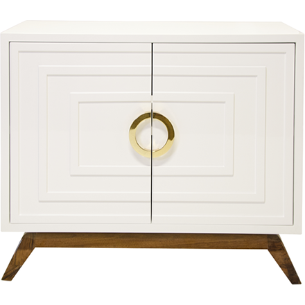 Worlds Away Bernard white lacquer two door cabinet with one interior adjustable shelf, brass hardware and a stained hardwood base.