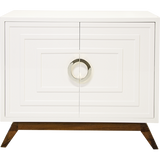 Worlds Away Bernard white lacquer two door cabinet with one interior adjustable shelf, nickel hardware and a stained hardwood base.