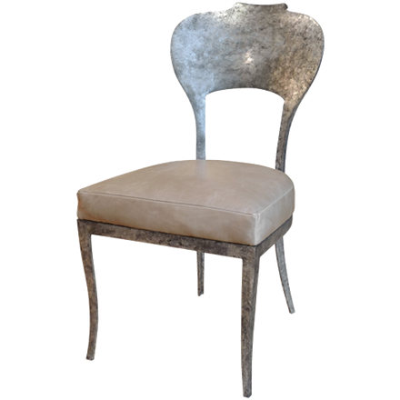 Oly Studio Beverly Side Chair with a scrolled aluminum frame in antique silver and a leather upholstered seat. T