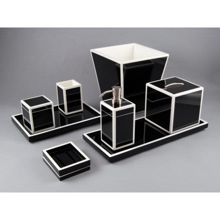 Black with White Trim Lacquer Bath Accessories