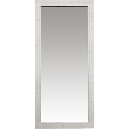 Oly Studio Blaire Floor Mirror with a white shell covered wood frame.