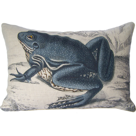 Left Facing Blue Frog Pillow