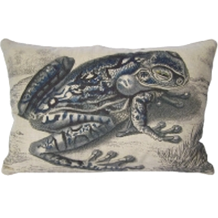 Right Facing Blue Frog Pillow