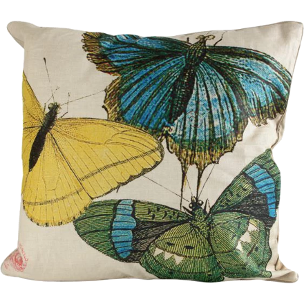 Blue, Yellow and Green Butterflies Pillow