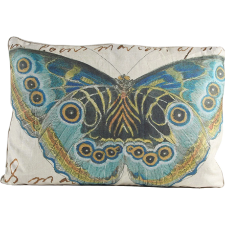Blue and Black Butterfly Pillow