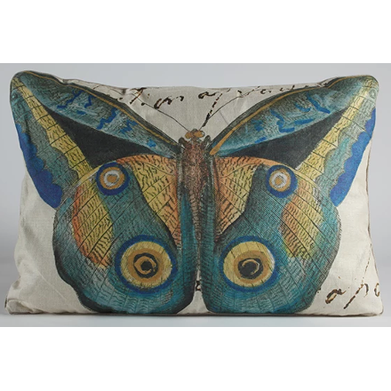 Blue and Gold Butterfly Pillow