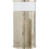 "Arteriors Home Large Bombay Hurricane is made of glass wrapped in perforated polished nickel. 9½ ""Diameter x 18½ ""H."