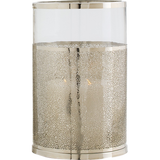 "Arteriors Home Small Bombay Hurricane is made of glass wrapped in perforated polished nickel. 9½ ""Diameter x 14½""H."