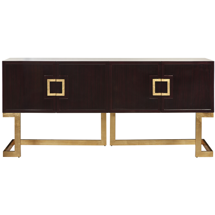 Worlds Away Braxton Media Console in rosewood with geometric goldleaf handles and base.