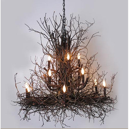 Wish Designs USA rustic chandelier is made from tree branches and twigs. Can be customized with any Benjamin Moore paint color. Two sizes available