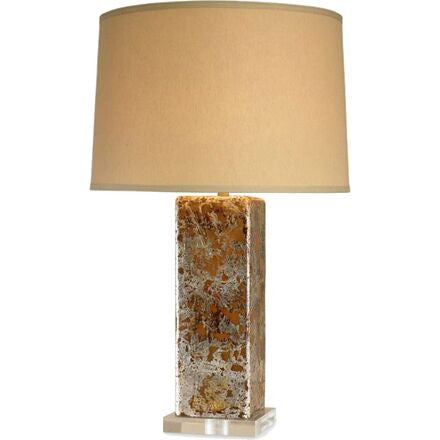 Brompton Table Lamp - Square antiqued foil glass lamp on a lucite base.
