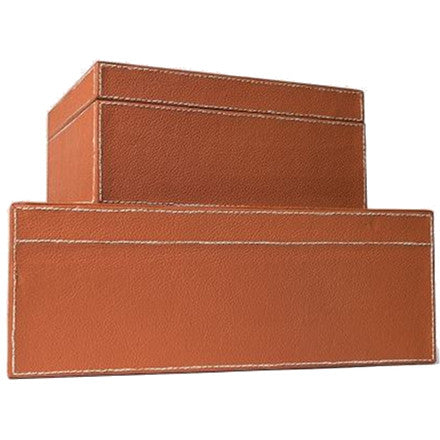 Made Goods Brooke Box Set contains two tailored leather boxes in orange leather. Slight differences in color and texture are characteristics of this collection's aged full-grain leather. This durable, high-quality leather may show inherent markings, distressed appearance and variations in pattern.