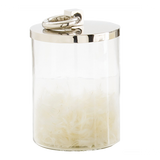 "Arteriors Home Medium Brooke Canister is glass and has a polished nickel top. Perfect for storing small items. 6½""Diameter x 9½""H."
