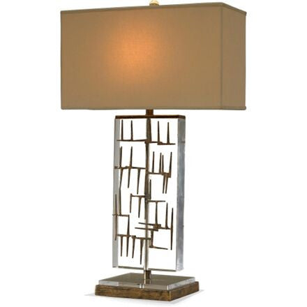 Bruno Table Lamp - Lamp with a rectangular lucite body with striking gold fretwork details.