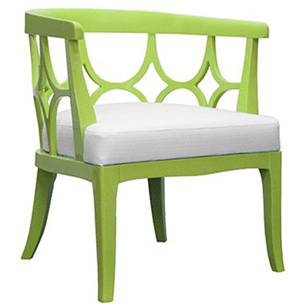 Worlds Away Campbell green lacquer framed barrel back chair with a white linen cushion.