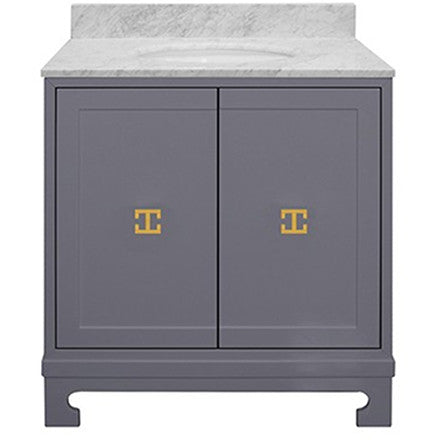 Worlds Away grey lacquer two door bath vanity with gold leaf hardware and a white carrara marble top with backsplash.