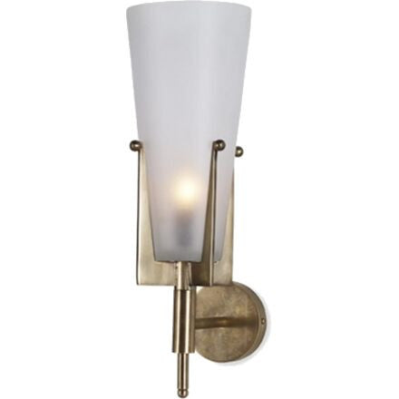 Castello Wall Sconce - Flared frosted glass held by brass prongs.
