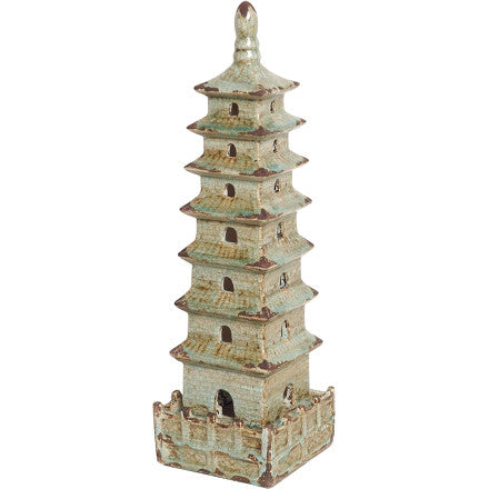 Emissary Ceramic Pagoda is a handcrafted ceramic square pagoda in a foam blue antiqued glaze finish.