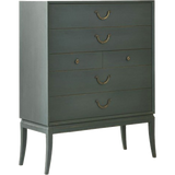 Hand carved out of solid wood and hand painted or lacquered six drawer chest with metal pulls.