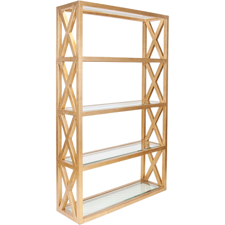Worlds Away Clifton five shelf gold leaf etagere with clear glass shelves and cross hatch detailing on the sides.