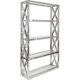 Worlds Away Clifton five shelf polished stainless etagere with clear glass shelves and cross hatch detailing on the sides.