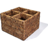 Antique brown woven rattan cutlery four compartment basket.