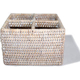 White wash woven rattan cutlery four compartment basket.