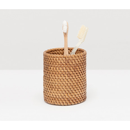 Brown Rattan brush holder.