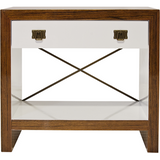 Worlds Away Dalton wood and white lacquer nightstand with a cubby shelf, glide drawer, brass X-brace and drawer pulls.