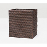 Coffee Rattan rectangular wastebasket
