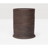 Coffee Rattan round wastebasket