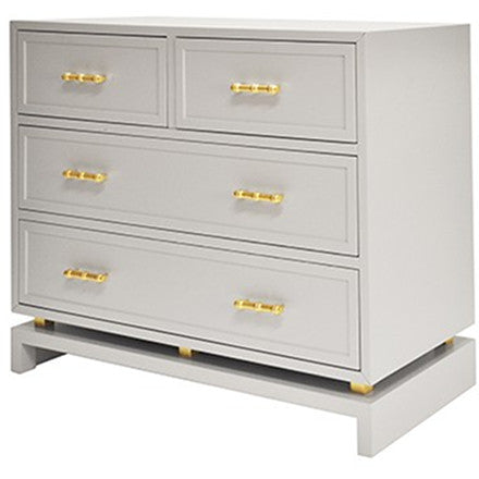 Worlds Away Declan four drawer grey lacquer chest with gold leaf hardware.