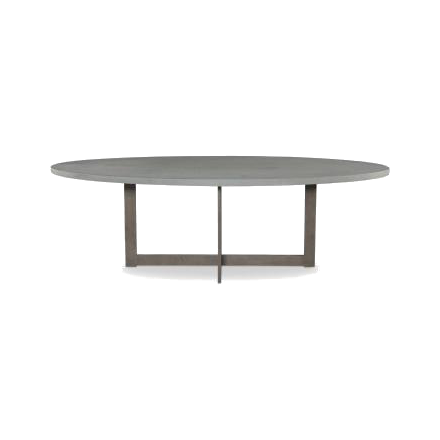 Stunning elliptical table features a sturdy minimalist pedestal base in Dirty Steel. Demark performs beautifully indoors and will turn heads in the garden too.
