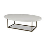 Sleek oval coffee table with white top and aztec gold base.