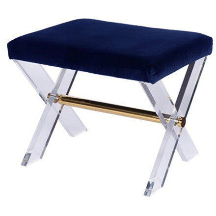 Worlds Away Dixon X-base lucite stool with a brass stretcher and navy velvet upholstered seat cushion.