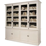 "This antique white wooden cabinet has four wood framed glass doors and four interior shelves. The lower section has four wooden front doors. 98½""W x 24""D x 101""H  (Crown: 107""W x 27""D)."