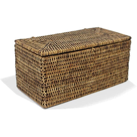 Antique Brown woven rattan double toilet paper hold with a lid.