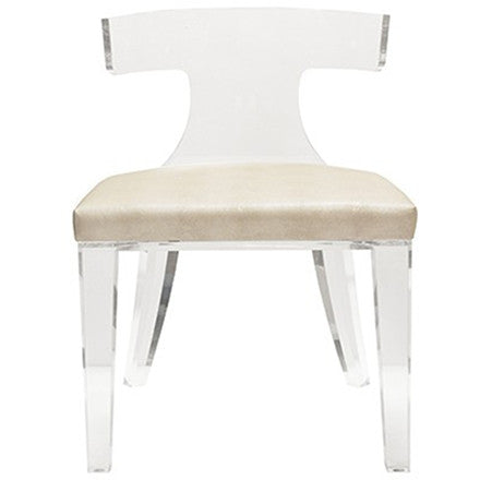 Worlds Away Duke acrylic Klismos chair with a beige shagreen upholstered seat.