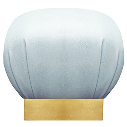 Worlds Away Dupont baby blue faux shagreen upholstered pouf with a gold leaf base.
