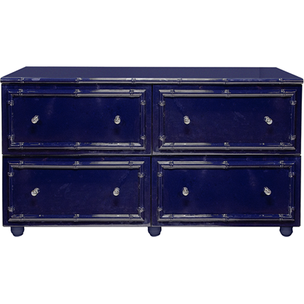 Worlds Away Emma four drawer navy lacquer dresser with bamboo detailing.