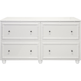 Worlds Away Emma four drawer white lacquer dresser with bamboo detailing.