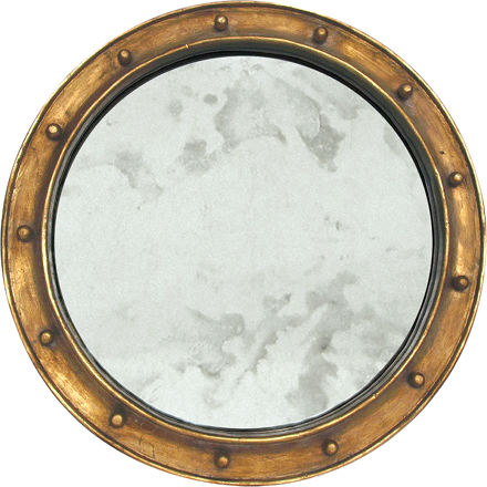 Worlds Away Federal round mirror with a gold leaf frame.