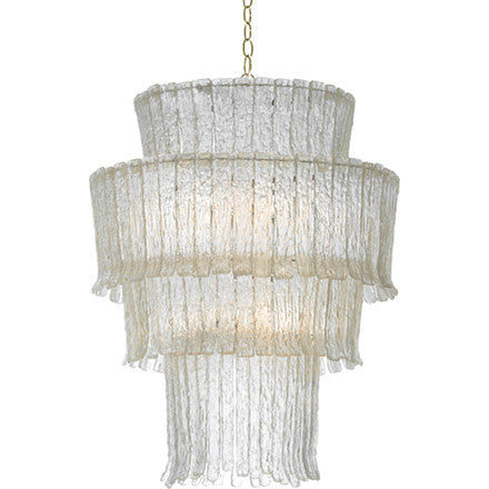 Oly Studio Gisele clear cast resin chandelier with four tiers and silver hardware.
