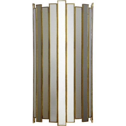 Oly Studio Grayson antiqued gold trimmed sconce with mirrored panels.