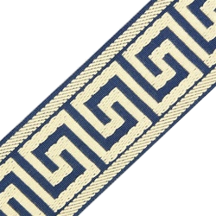 Accent Greek Key Tape, Denim/Ivory
