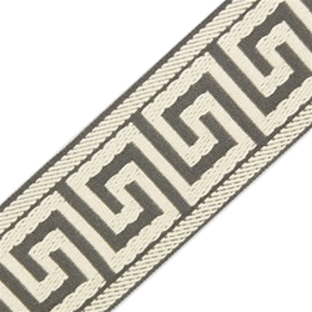 Accent Greek Key Tape, Pewter/Taupe