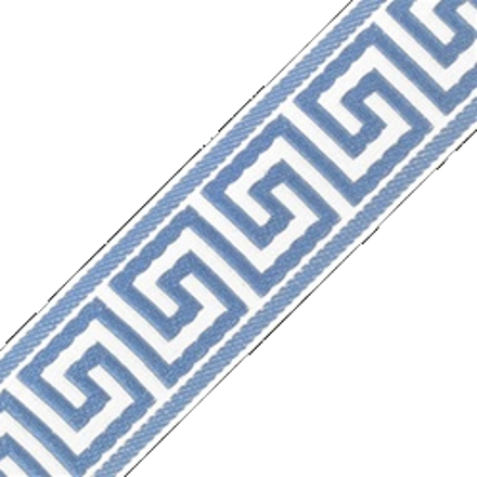 Accent Greek Key Tape, White/Sky