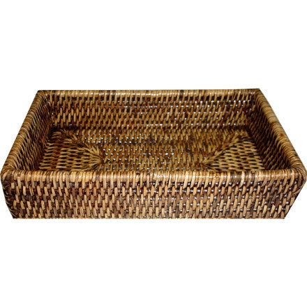Antique brown woven rattan guest towel bath tray.